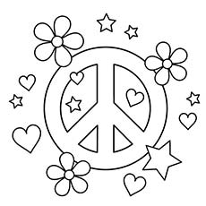 Drawn peace sign 60's Free Coloring Peace Top 25