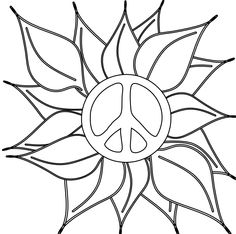 Drawn peace sign 70's Simple and Coloring Sign Printable