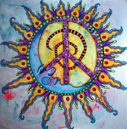 Drawn peace sign 70's Pinterest Peace 2074 thing! sun/moon