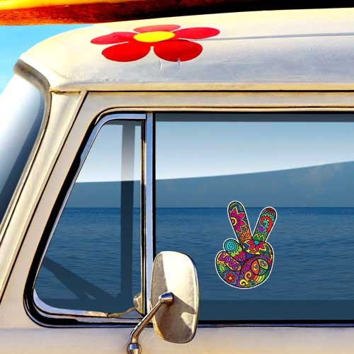 Drawn peace sign 70's Car  Sign MeganJDesigns Sticker