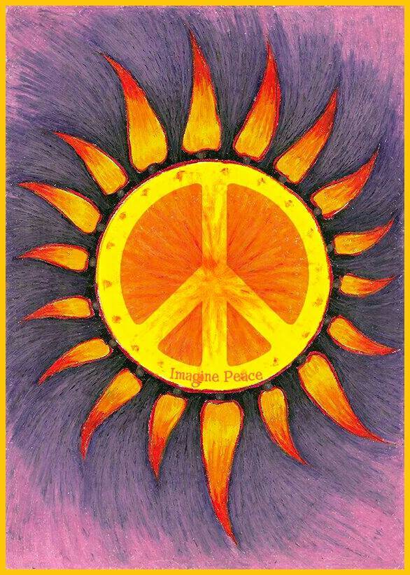 Drawn peace sign abstract … Original Hippie Art Pin