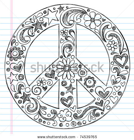 Drawn peace sign abstract On Lined Hand Hearts Stars