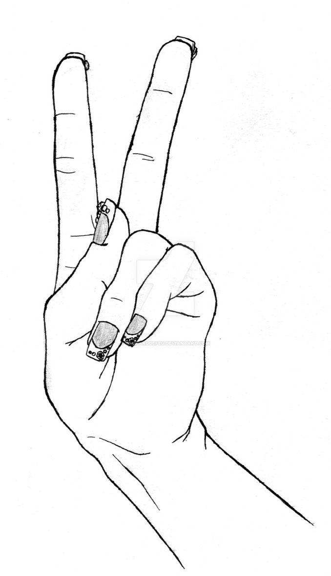 Drawn peace sign anime hand To Peace By Collection Photo