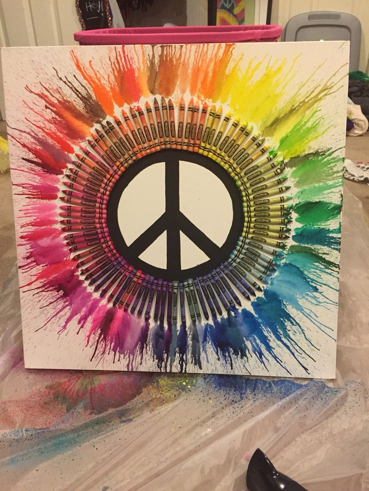 Drawn peace sign artistic Crayon Art Sign Melted crayon
