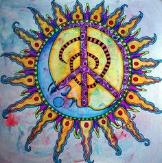 Drawn peace sign awesome Peace Trippy Psychedelic Sign! Artwork