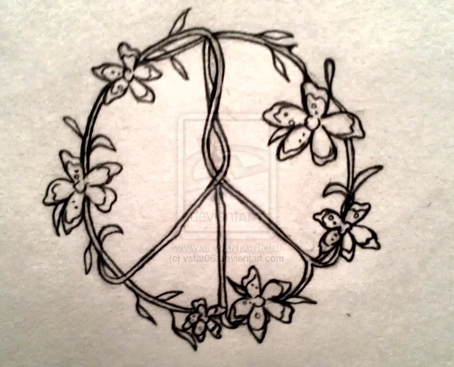 Drawn peace sign doodle Sign flower vstar06 by