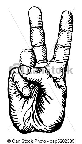 Drawn peace sign black and white Salute peace or Vector sign