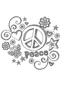 Drawn peace sign color Fantasy Simple Printable  Pages