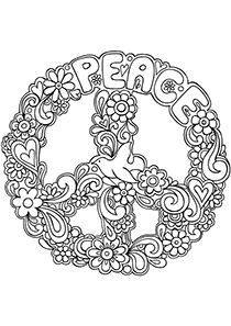 Drawn peace sign color Pinterest Coloring Symbol Sign Adult
