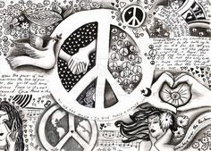 Drawn peace sign coloring page Pages color cat printable Peace