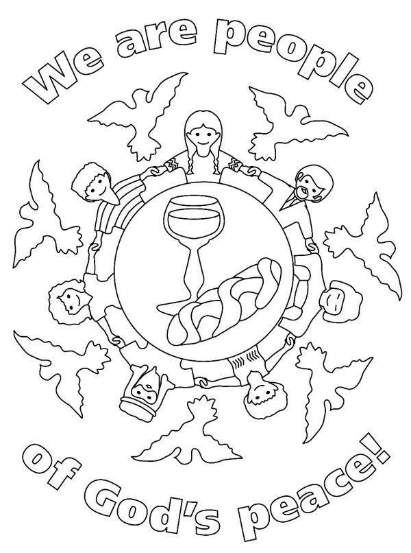 Drawn peace sign coloring picture Pinterest first communion coloring pages