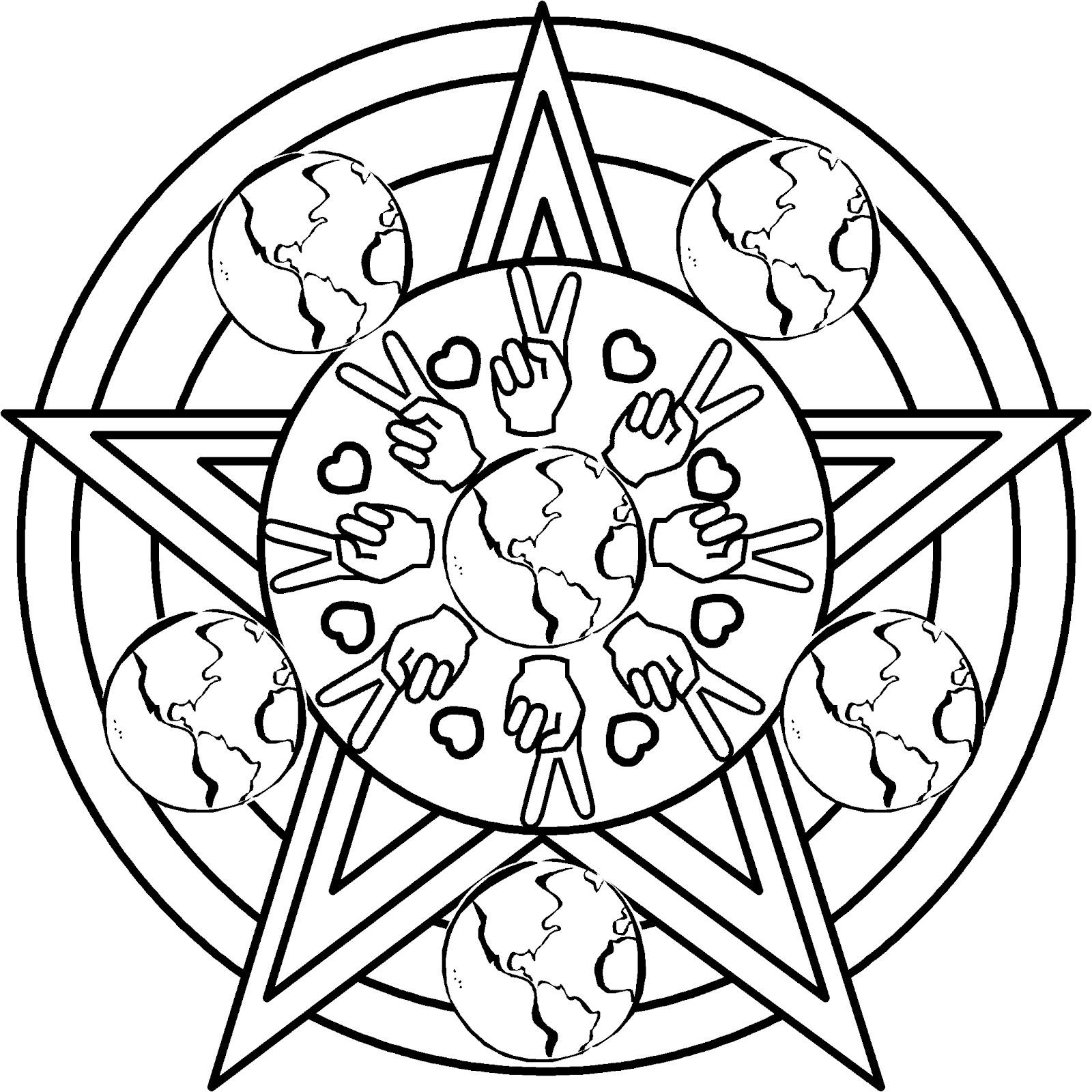 Drawn peace sign coloring picture Earth day day Mandala Mandala