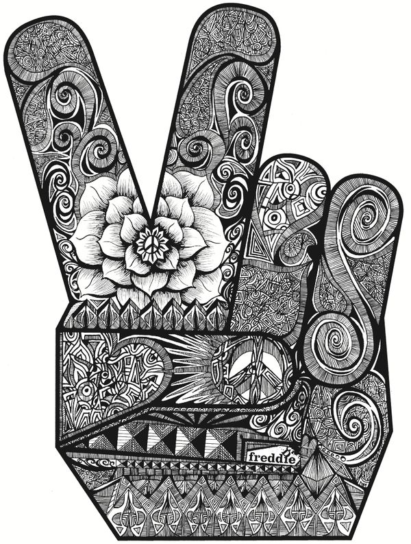 Drawn peace sign creative Illustration Freddie Best by on