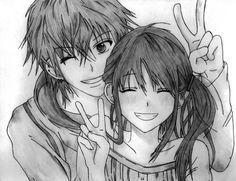 Drawn peace sign cute Yo cómo cómo ANIME anime