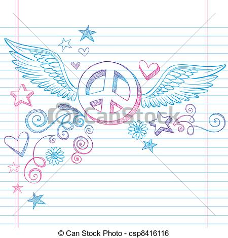 Drawn peace sign doodle Vector Peace Peace of Hand