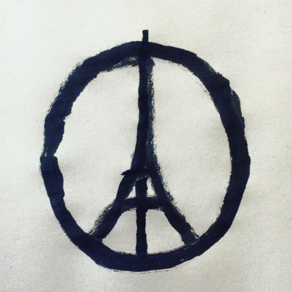 Drawn peace sign facebook Tower paris Eiffel interview
