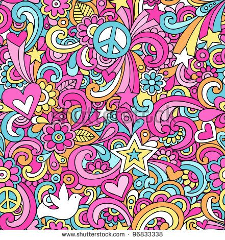 Drawn peace sign groovy Pattern Drawn Background Doodle Illustration