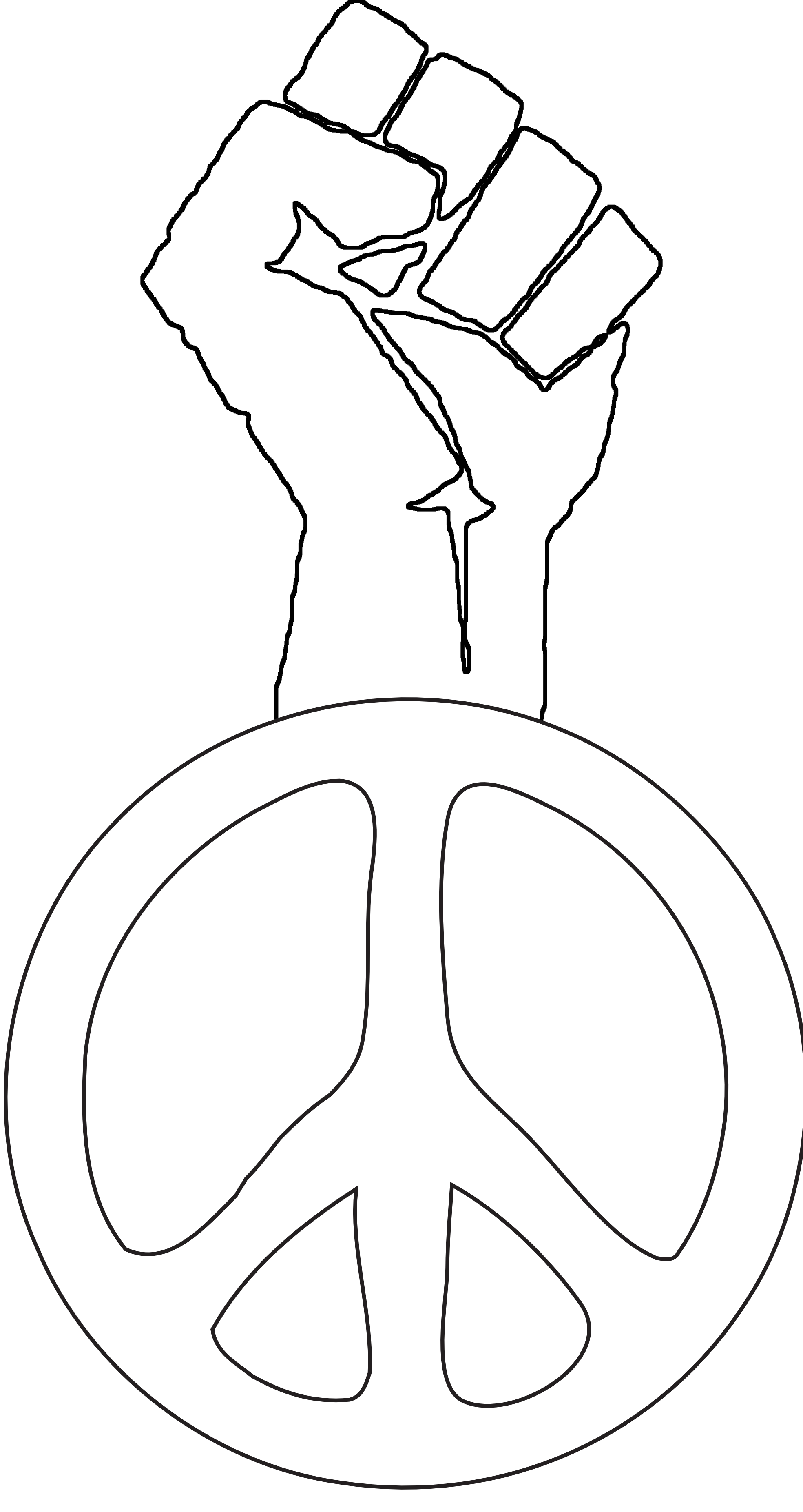 Drawn peace sign groovy Fist Groovy Fist Peace Fight