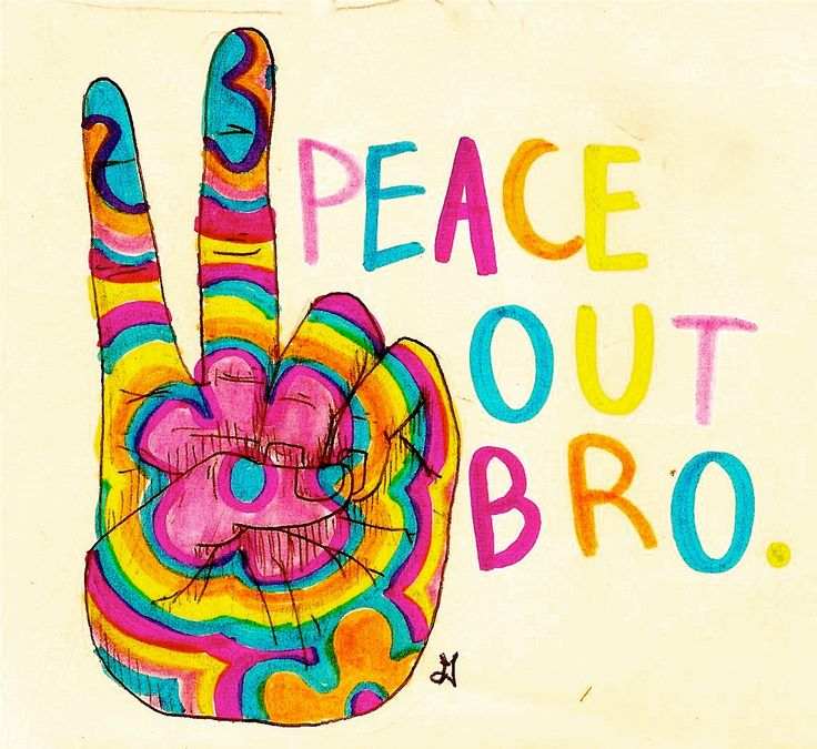 Drawn peace sign groovy American ☯☮ & on 60's