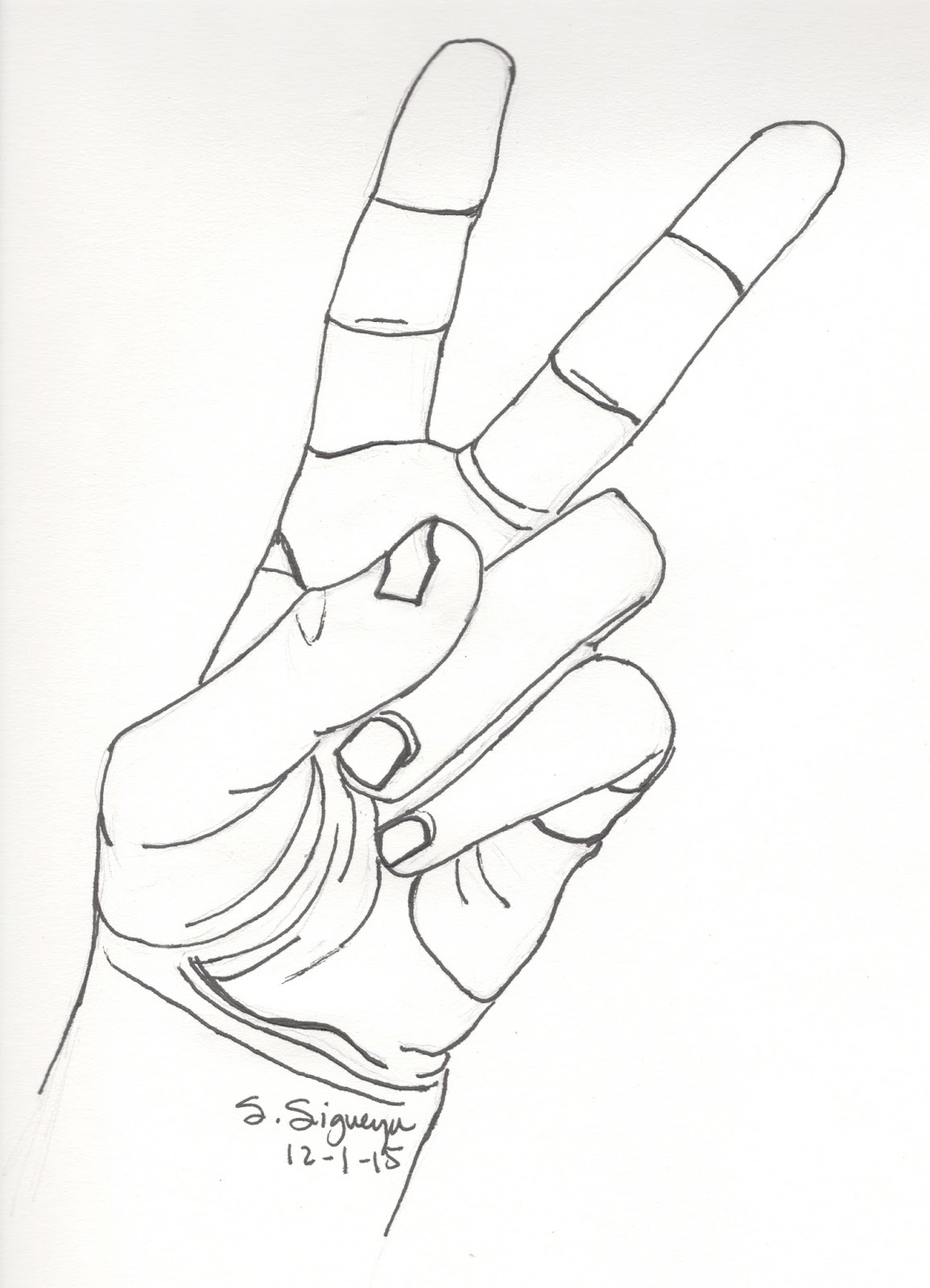 Drawn peace sign hand drawing Peace hand hand drawing