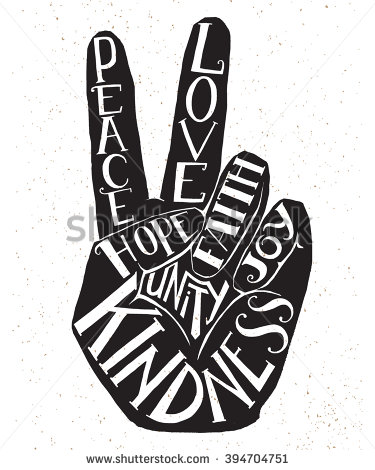 Drawn peace sign hand drawing Fingers showing  peace sign