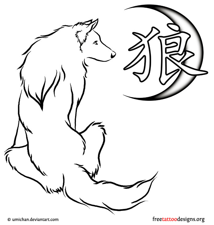 Drawn peace sign japan Tattoos Wolf kanji moon Wolf