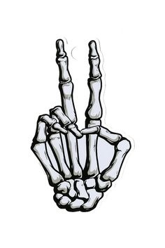 Drawn peace sign jari IPad and Sign Skeleton hand