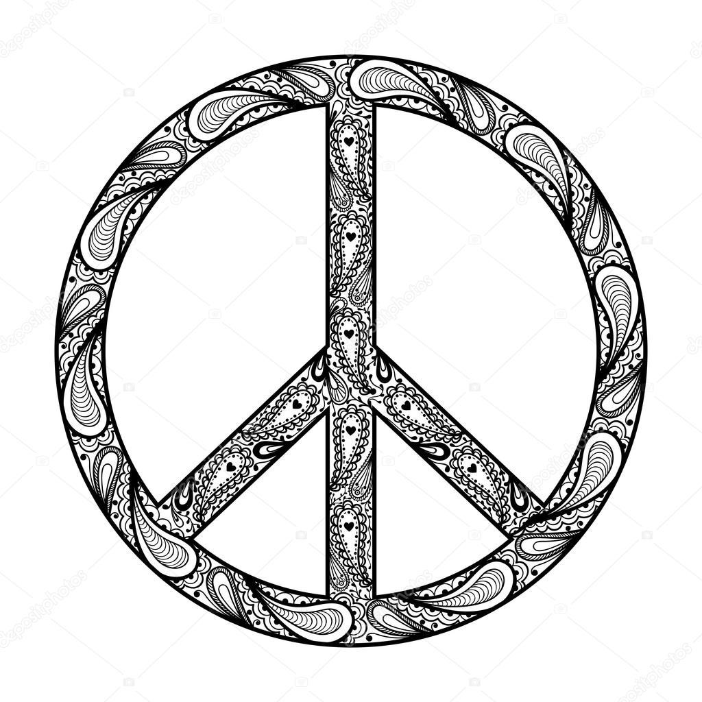 Drawn peace sign logo Zentangle pray tattoo Hand illustration