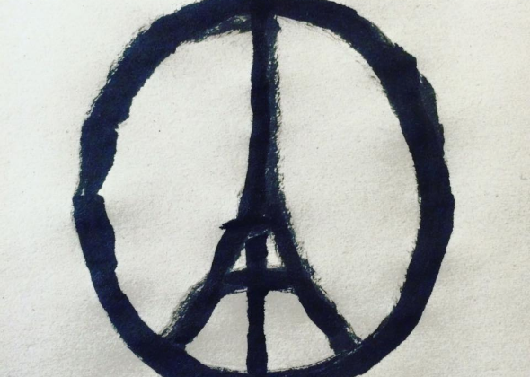 Drawn peace sign not Paris Shooting with with Eiffel