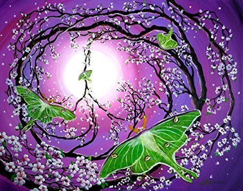 Drawn peace sign original Luna Zen Purple Green Tree
