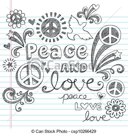 Drawn peace sign peace and love Set Sketchy and Vector of