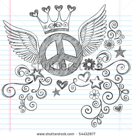 Drawn peace sign peace and love Princess and Angel Doodle Lined