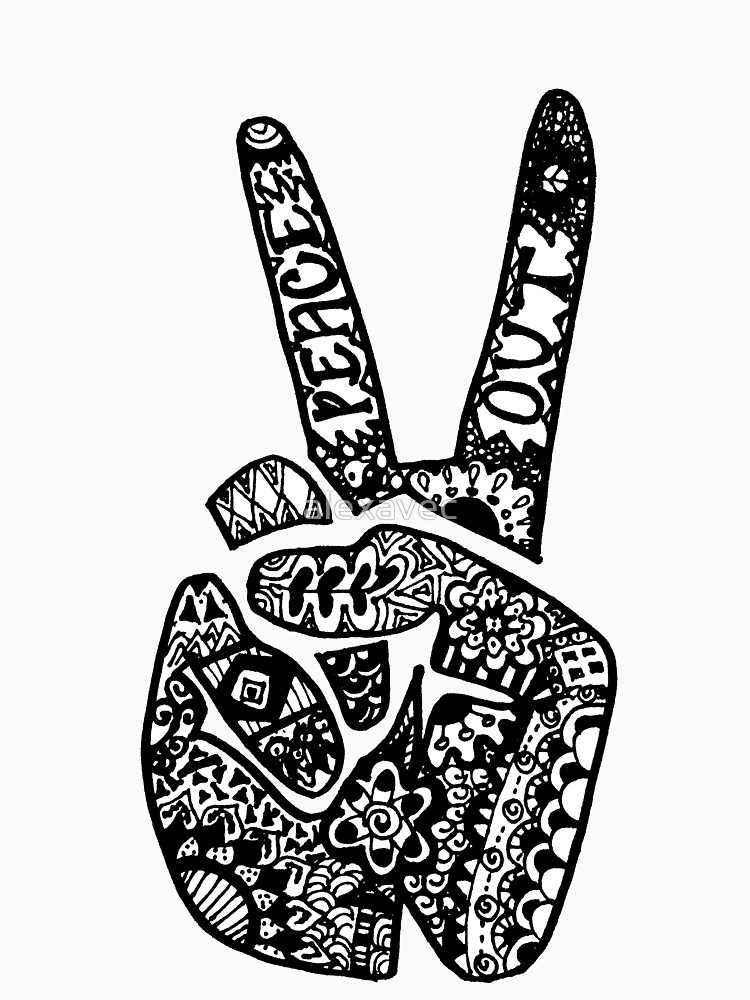 Drawn peace sign peace out & Out by Out Redbubble