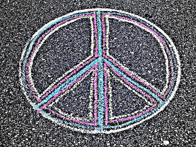 """Drawn peace sign peace out The The """"Peace Peace_Sign_drawn_on_the_pavement Resignation"""
