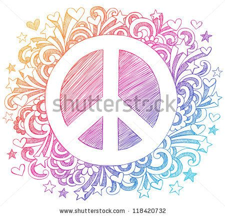 Drawn peace sign peace out Design Back School Hand Notebook