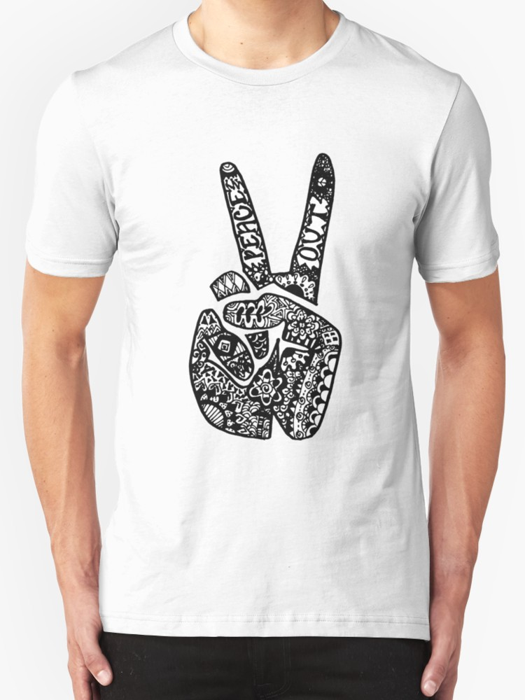 Drawn peace sign peace out T Out & Drawn by