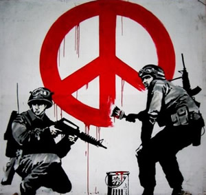 Drawn peace sign pece Banksy painting soldiers soldiers imagination