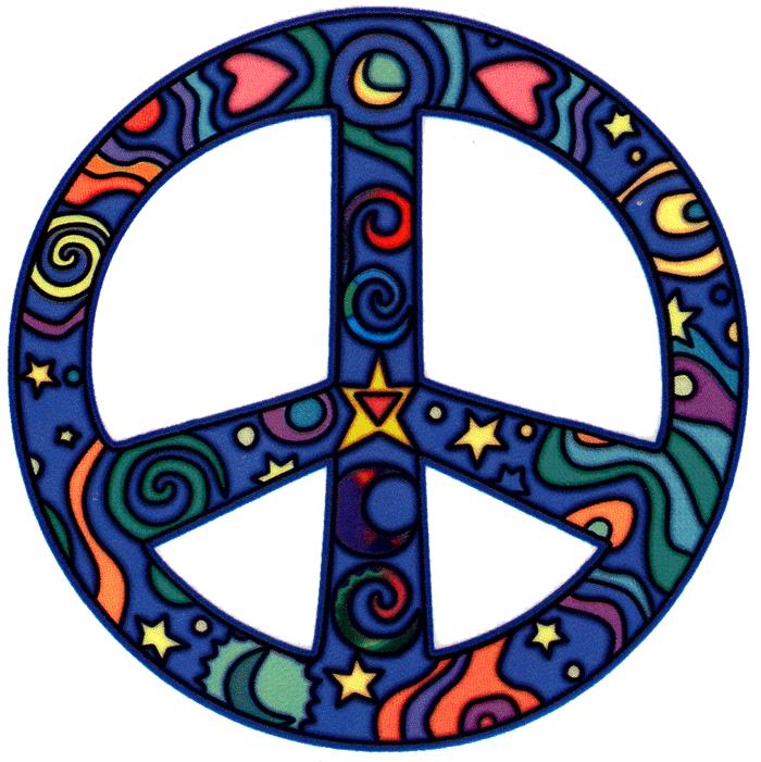 Drawn peace sign pece Free Spiritual Nature Stickers Window