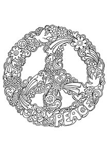 Drawn peace sign printable Coloring Attractive  Pages Pages