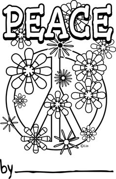 Drawn peace sign printable Pages Free Of  Coloring