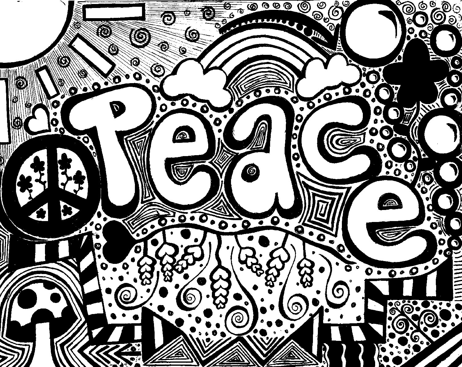Drawn peace sign psychedelic Peace  Psychedelic Traditional Peace