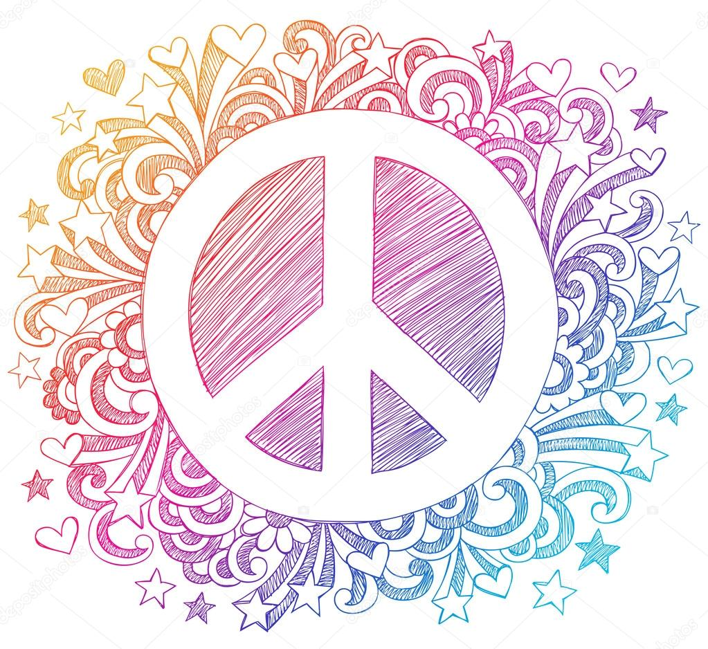 Drawn peace sign psychedelic Blue67 Hand Vector Stock Psychedelic