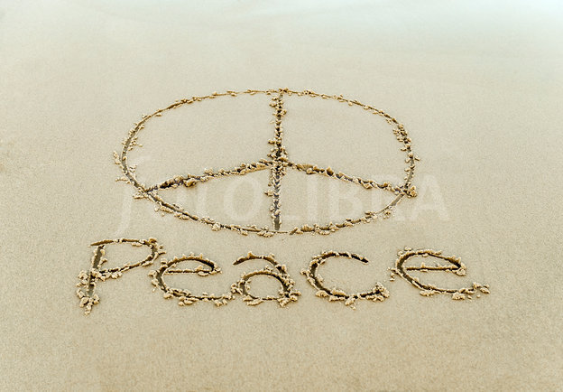 Drawn peace sign sand Sign beach in sign