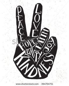 Drawn peace sign sign language Peace  above Words fingers