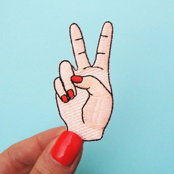 Drawn peace sign sign language 25+ Garment on Embroidered Clothes