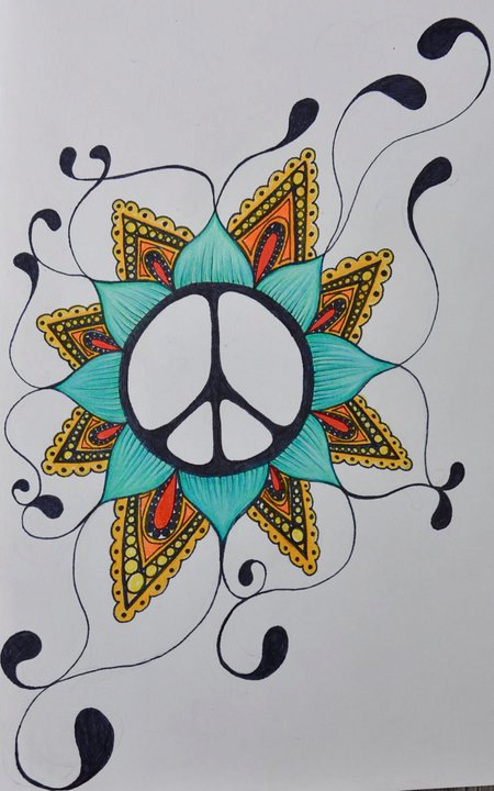 Drawn peace sign simple #2