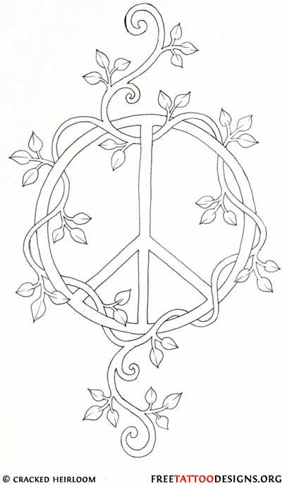 Drawn pot plant peace sign Sign vine combined with Peace