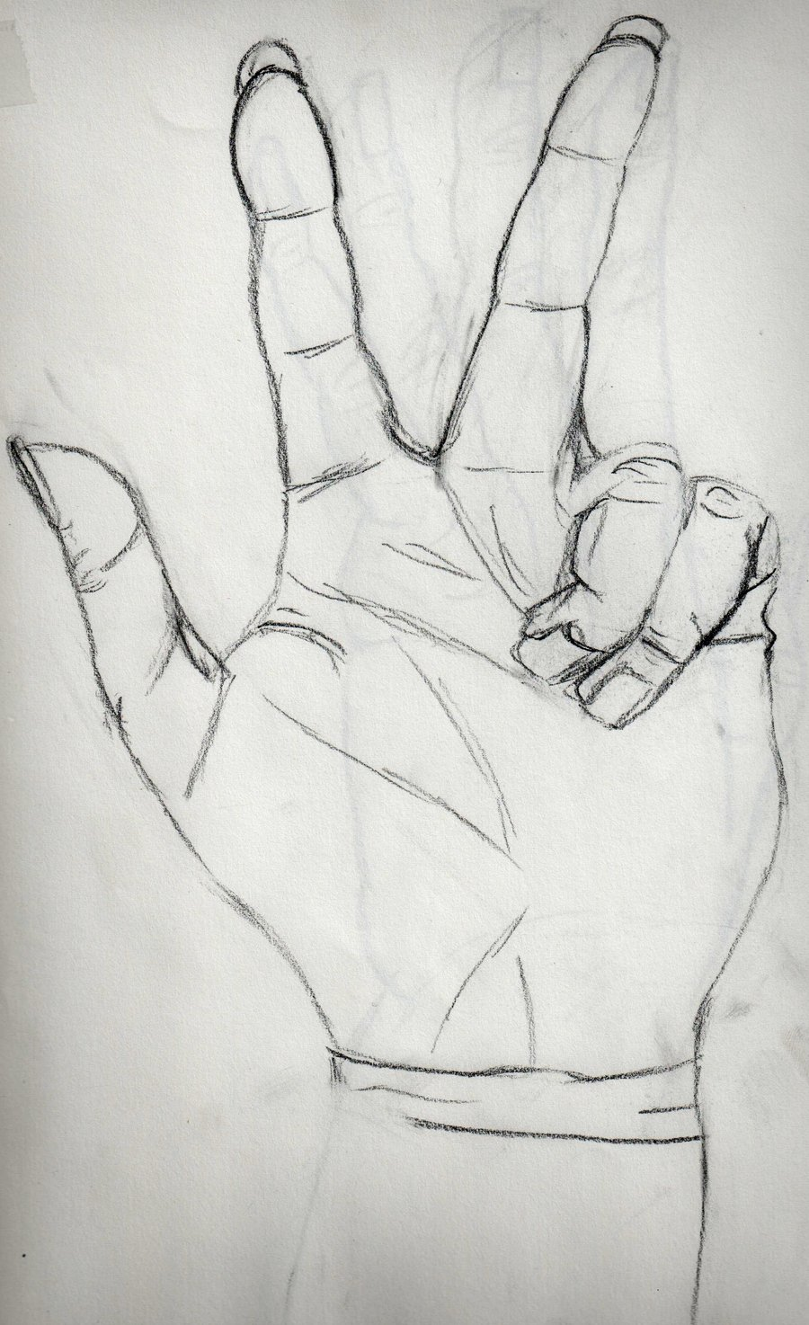 Drawn peace sign sketch Hand DeviantArt Sketch Respect by