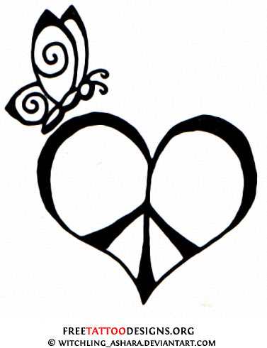 Drawn hearts peace sign Tattoo and Sign  50