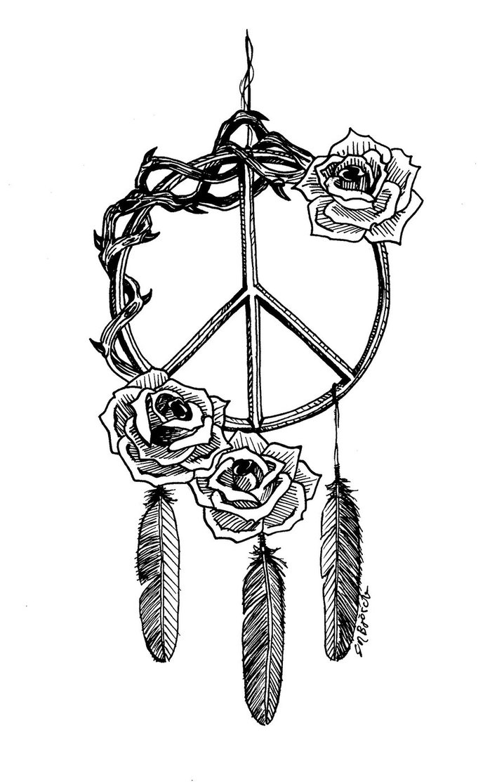 Drawn peace sign indian By Tattoo my ~ElinBjorck inner